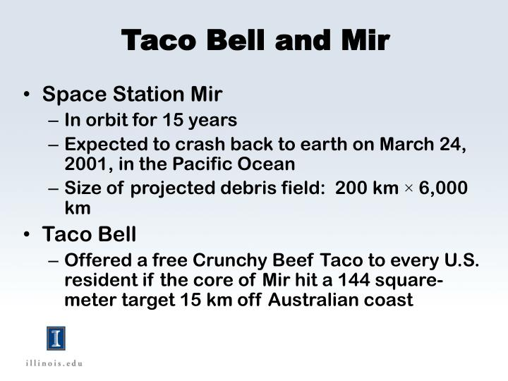 Taco Bell and Mir