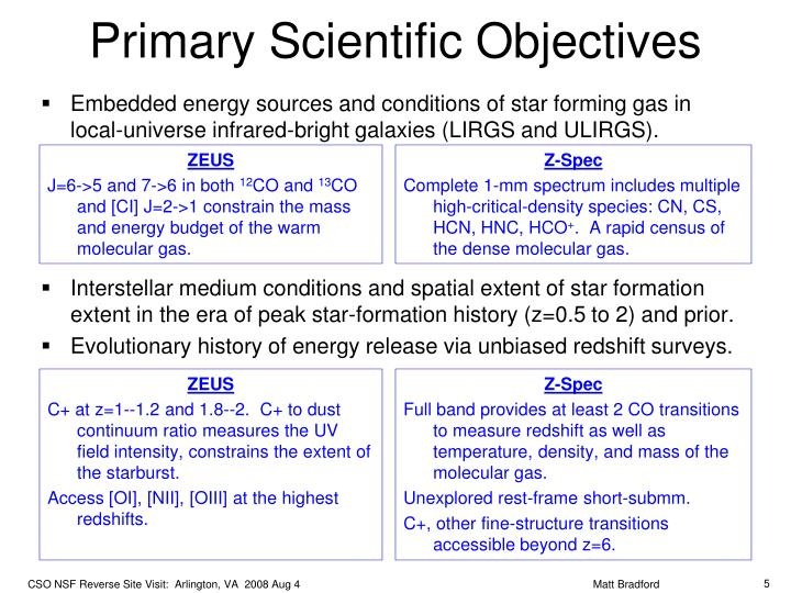 Primary Scientific Objectives