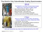 the world s only submillimeter grating spectrometers