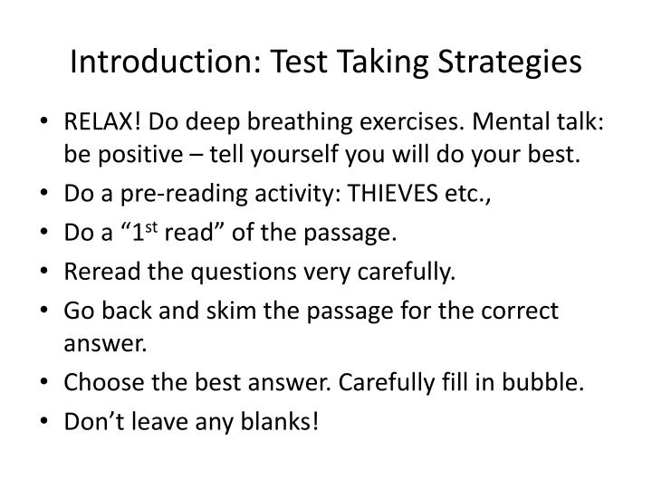 Introduction: Test Taking Strategies