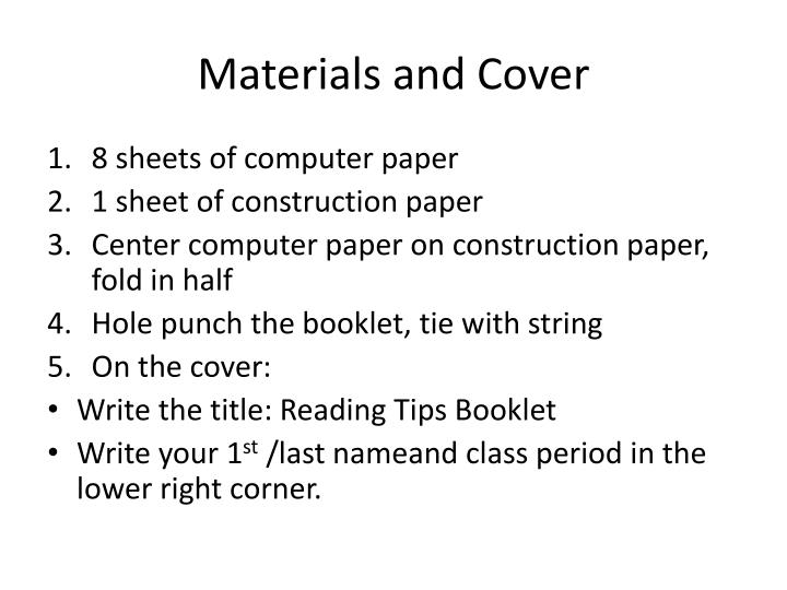 Materials and cover
