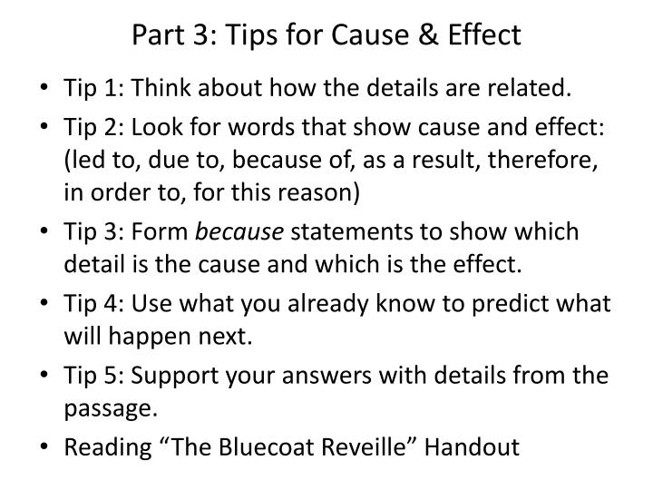 Part 3: Tips for Cause & Effect
