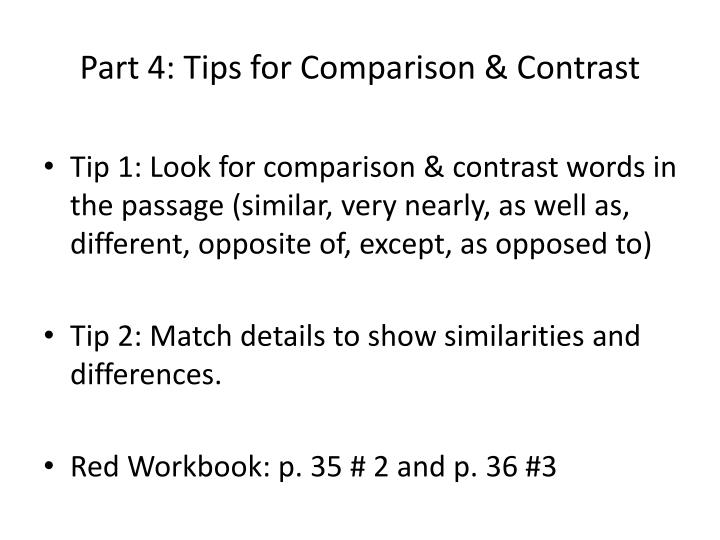 Part 4: Tips for Comparison & Contrast