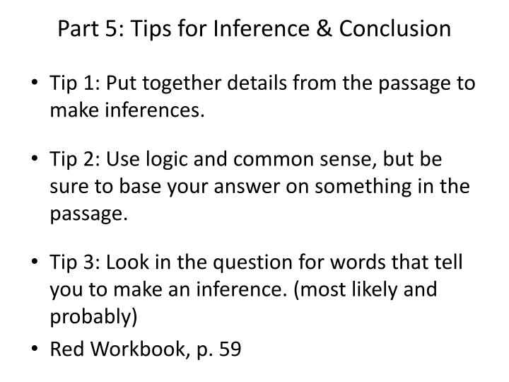 Part 5: Tips for Inference & Conclusion