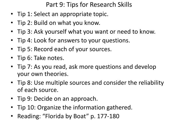 Part 9: Tips for Research Skills
