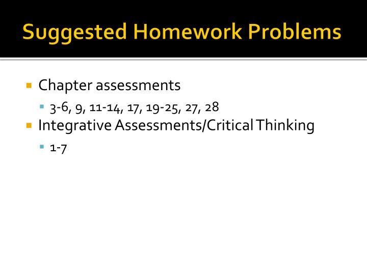 Suggested Homework Problems