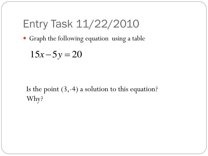 Entry Task 11/22/2010
