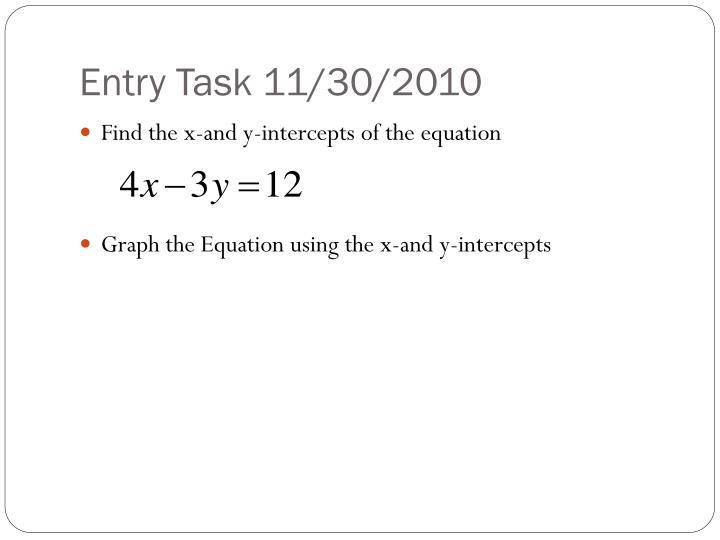 Entry Task 11/30/2010