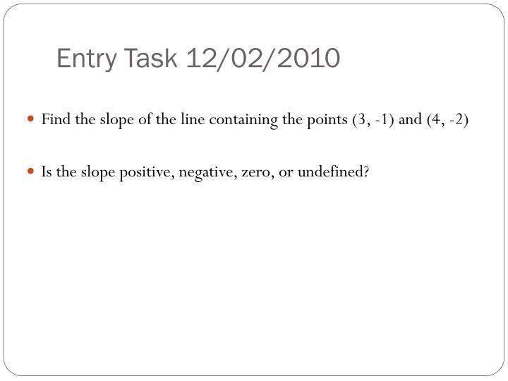 Entry Task 12/02/2010