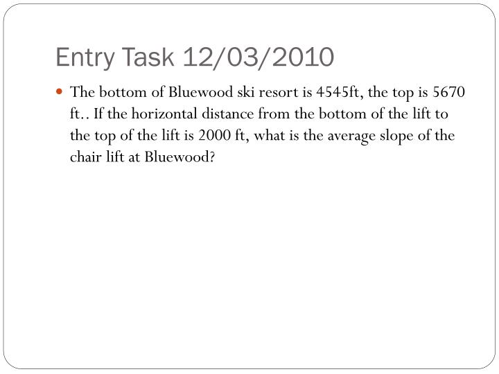 Entry Task 12/03/2010