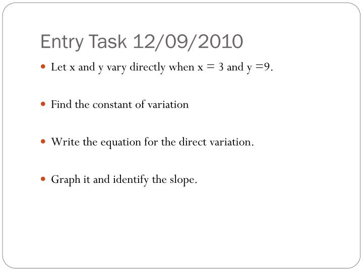 Entry Task 12/09/2010