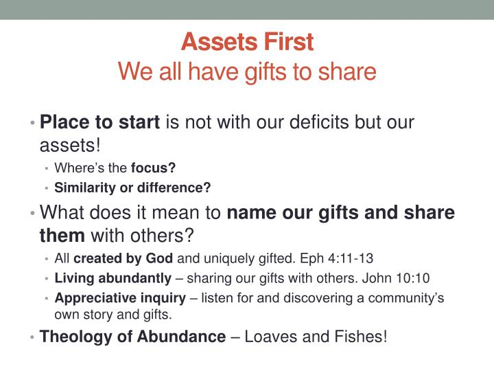Assets First