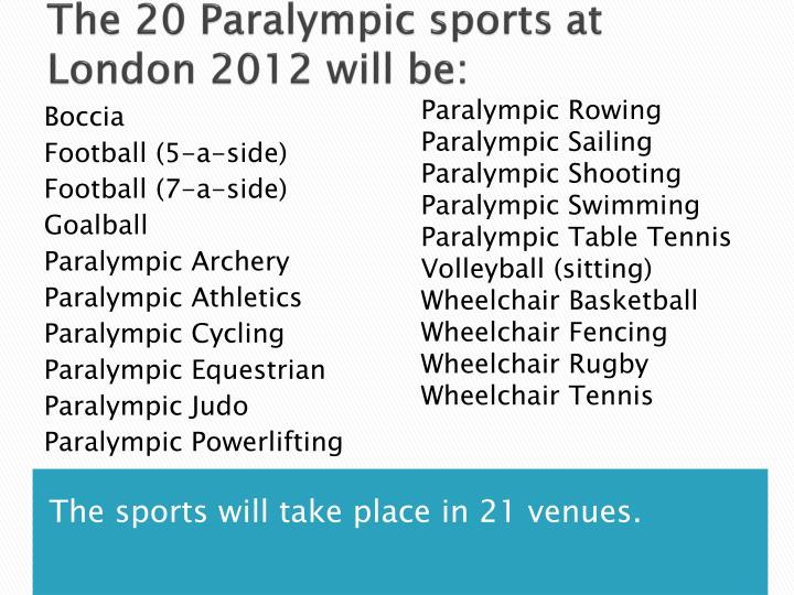 The 20 Paralympic sports at London 2012 will be: