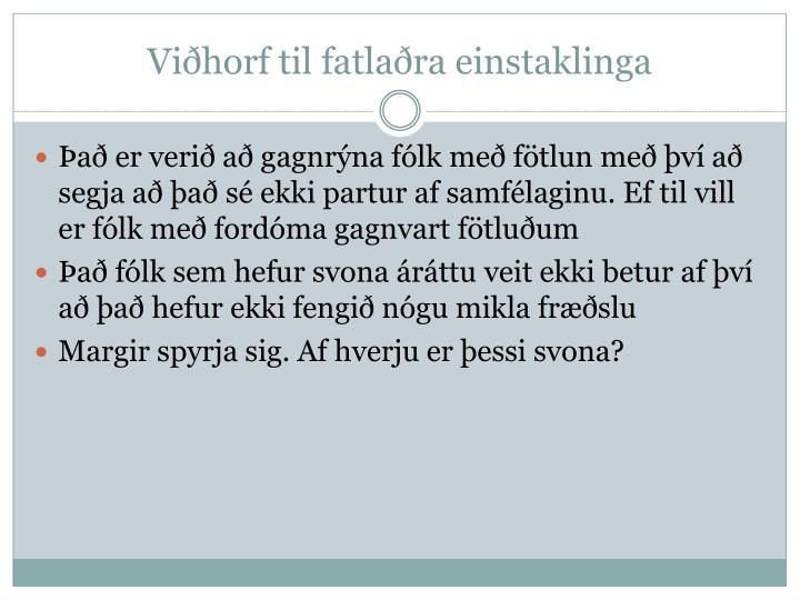Viðhorf til fatlaðra einstaklinga