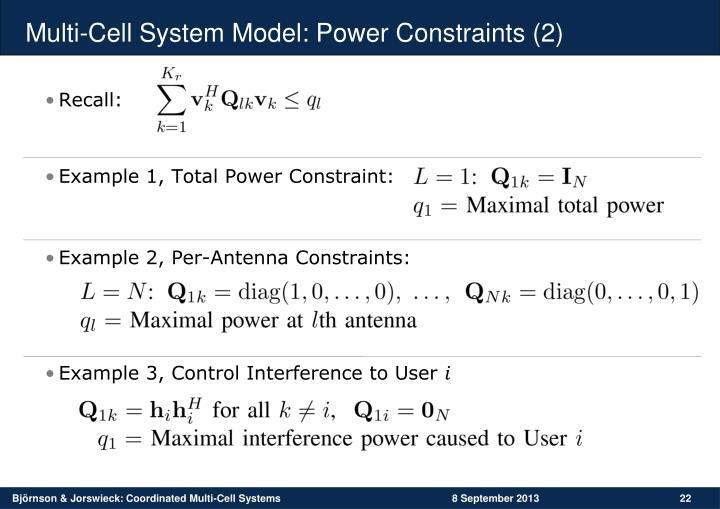 Multi-Cell System Model: Power