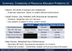 summary complexity of resource allocation problems 2