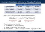 summary complexity of resource allocation problems