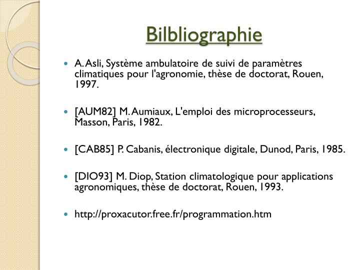 Bilbliographie