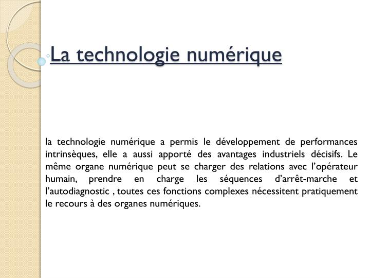 La technologie numérique
