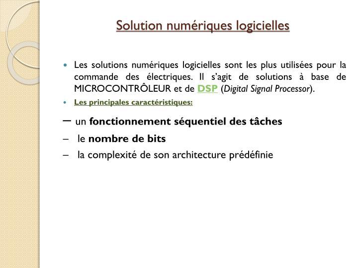 Solution numériques logicielles