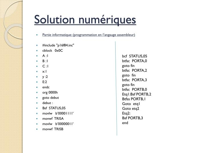 Solution numériques