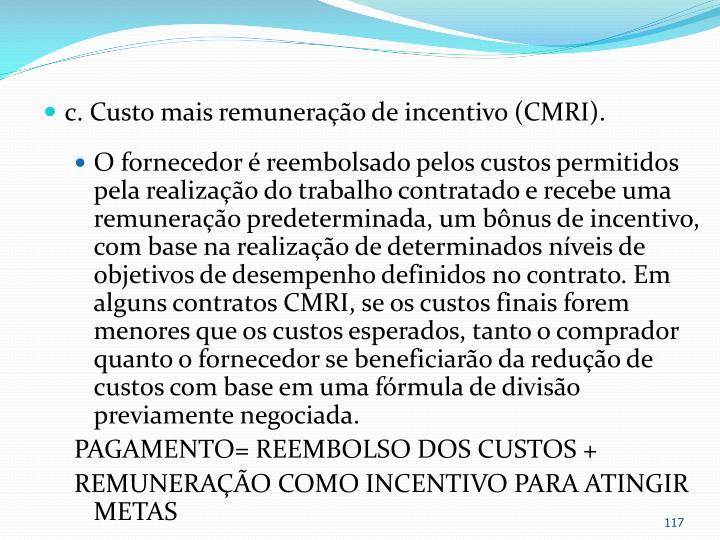 c. Custo mais remuneração de incentivo (CMRI).