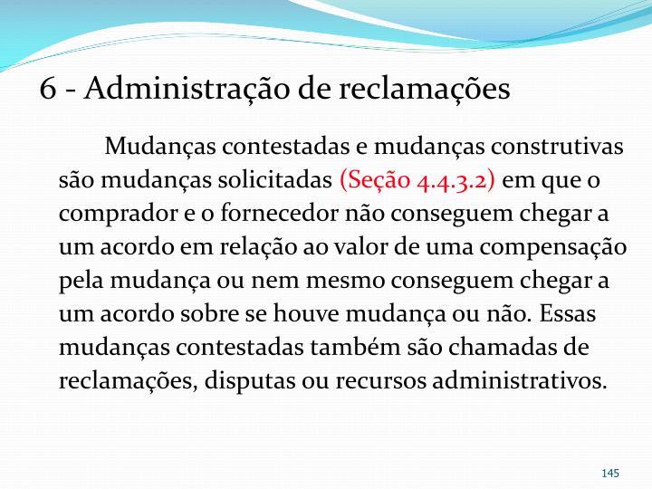 6 - Administração de reclamações
