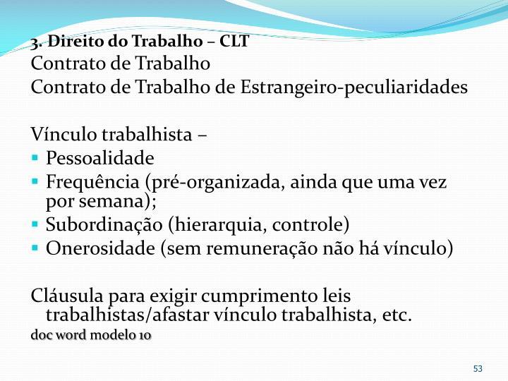 3. Direito do Trabalho – CLT