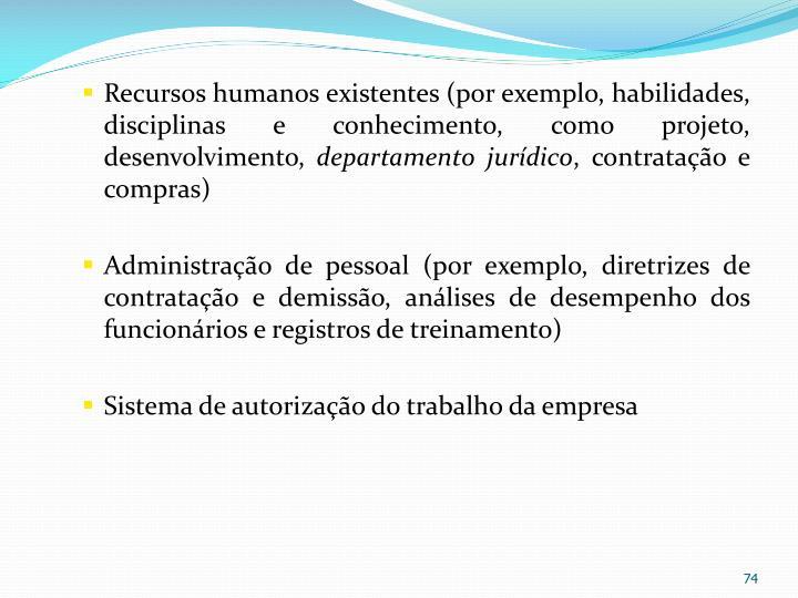 Recursos humanos existentes (por exemplo, habilidades, disciplinas e conhecimento, como projeto, desenvolvimento,