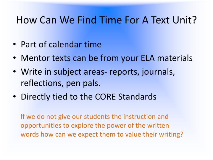 How Can We Find Time For A Text Unit?