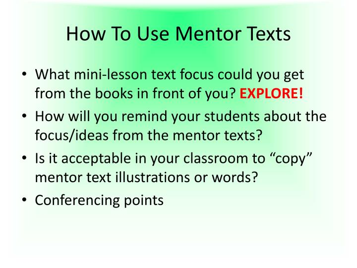 How To Use Mentor Texts