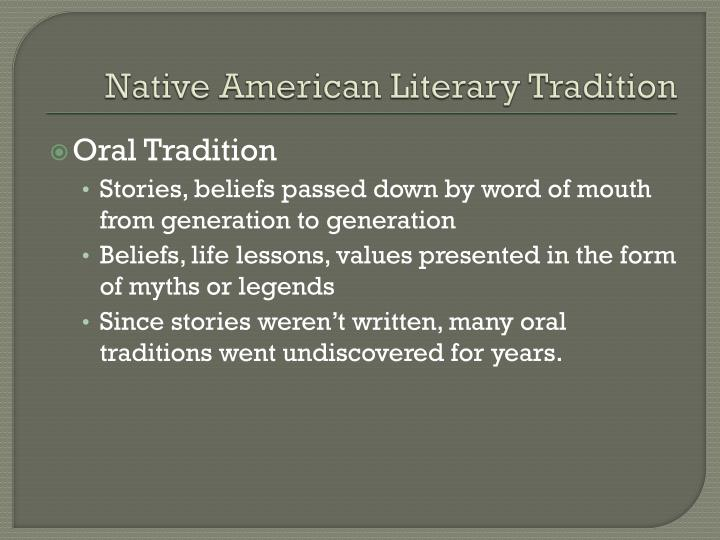 Native American Literary Tradition