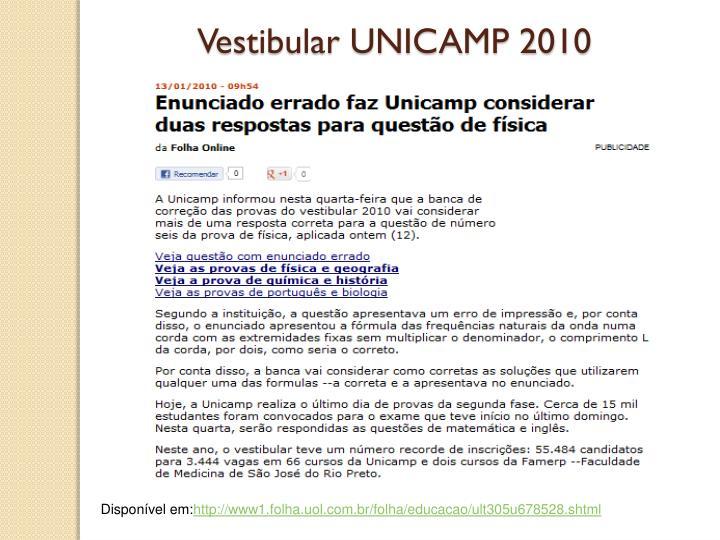 Vestibular UNICAMP 2010