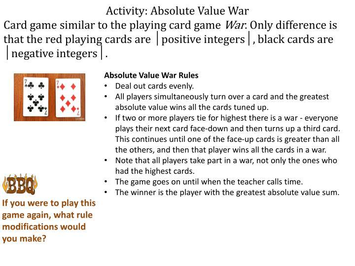 Activity: Absolute Value War