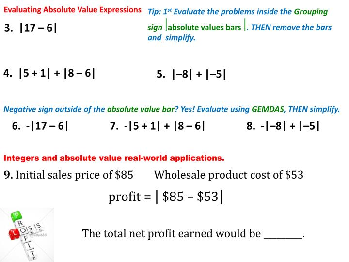 Evaluating Absolute Value Expressions