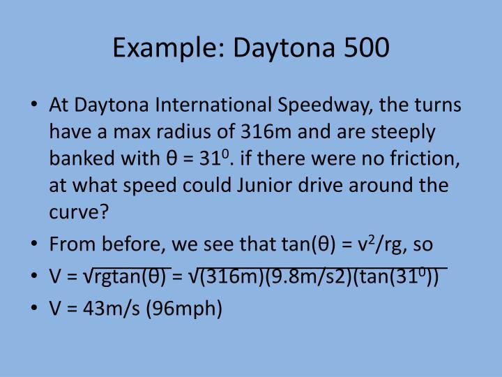 Example: Daytona 500