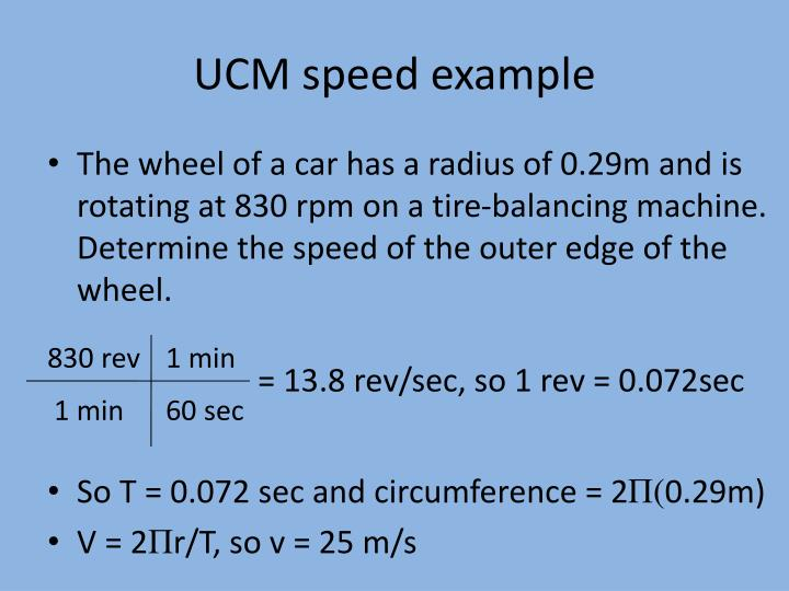 UCM speed example