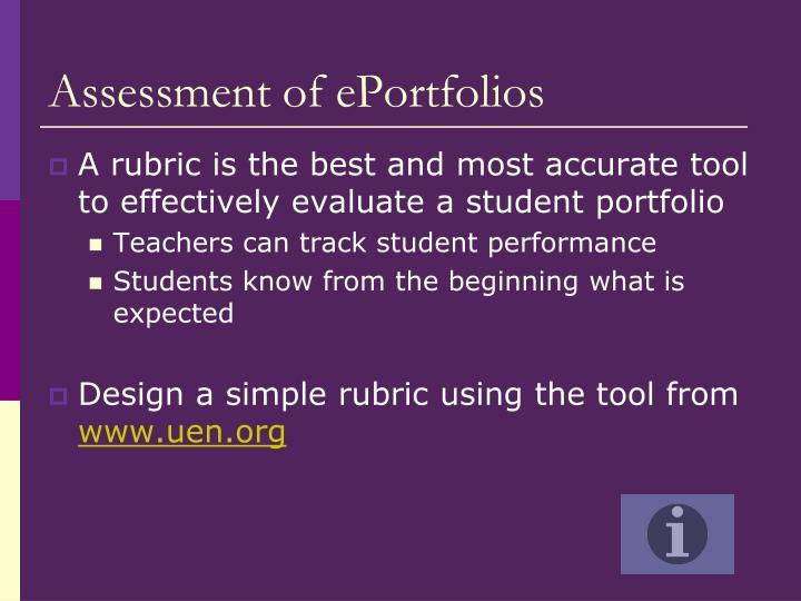 Assessment of ePortfolios