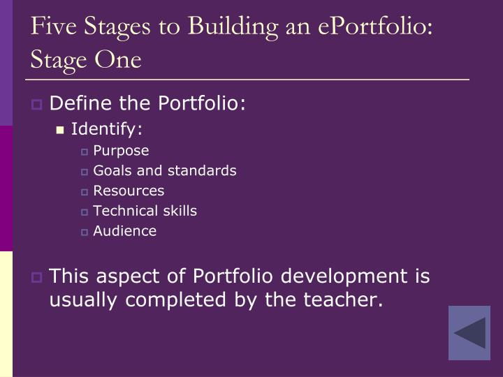 Five Stages to Building an ePortfolio:
