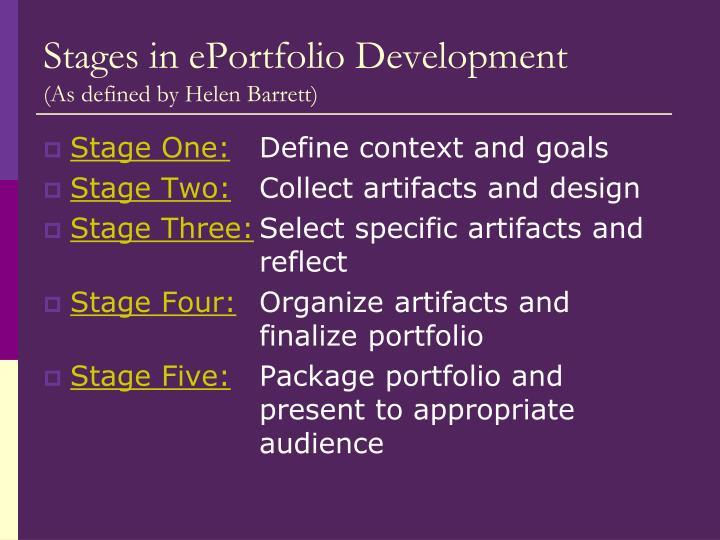 Stages in ePortfolio Development