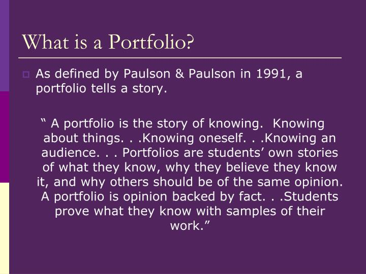 What is a portfolio