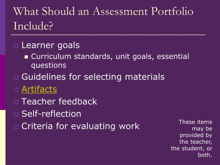 What Should an Assessment Portfolio Include?