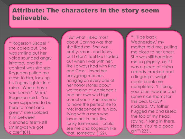 Attribute: The characters in the story seem believable.