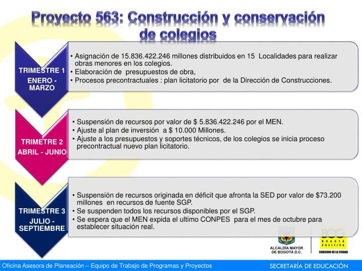 Proyecto 563: Construcción y conservación de colegios