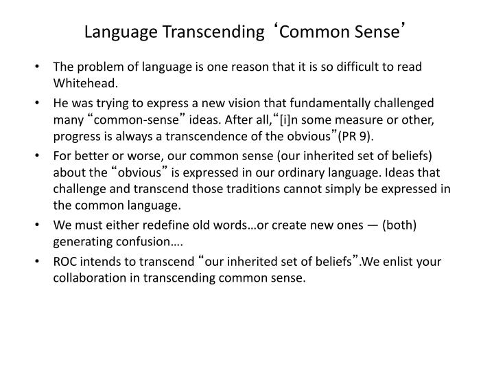 Language Transcending