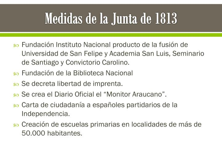 Medidas de la Junta de 1813