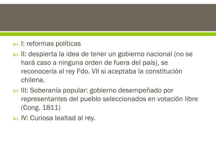 I: reformas políticas