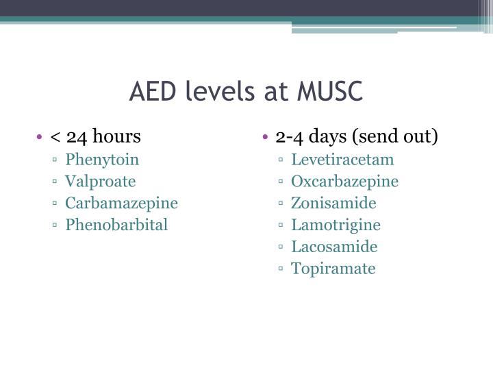 AED levels at MUSC