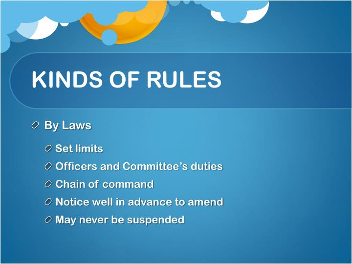 KINDS OF RULES