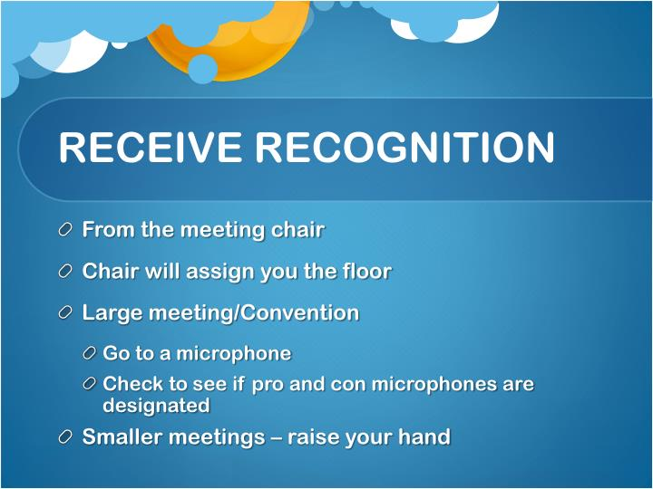 RECEIVE RECOGNITION